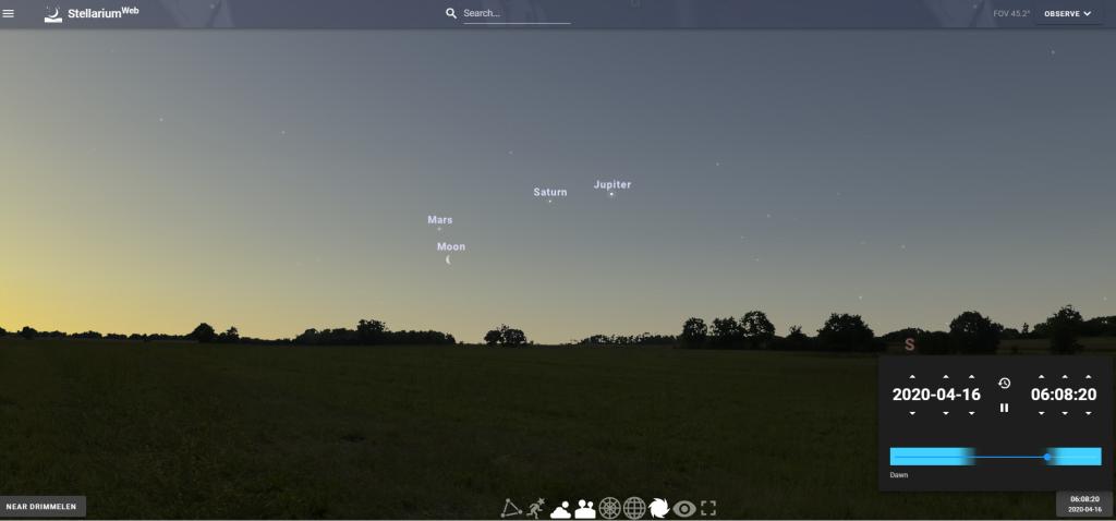 Samenstand van de maan, Mars, Saturnus en Jupiter op 16 april 2020